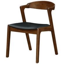 View Product - Swansea KD PU Dining Side Chair Dark Walnut Frame, Black