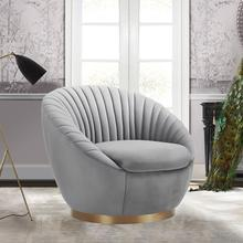 See Details - Mitzy Gray Velvet Swivel Accent Chair with Gold Base