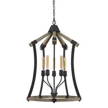 Dali 60W X 5 Metal/Pine Wood Chandelier (Edison Bulbs Not included)