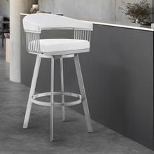 "Chelsea 30"" White Faux Leather and Brushed Stainless Steel Swivel Bar Stool"