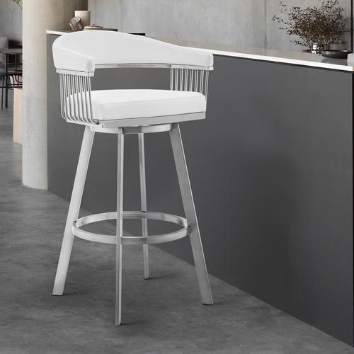 """Armen Living - Chelsea 30"""" White Faux Leather and Brushed Stainless Steel Swivel Bar Stool"""