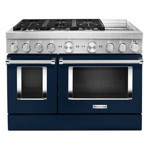 KitchenAidKitchenAid® 48'' Smart Commercial-Style Dual Fuel Range with Griddle - Ink Blue