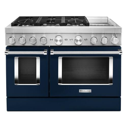 Product Image - KitchenAid® 48'' Smart Commercial-Style Dual Fuel Range with Griddle - Ink Blue