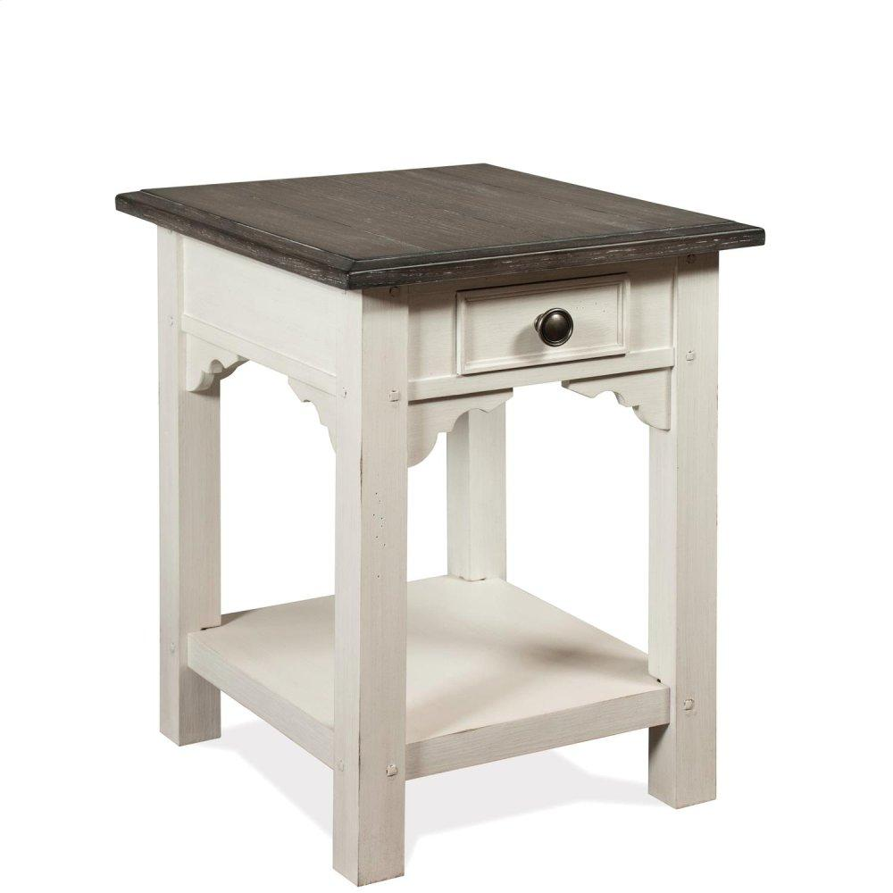 See Details - Grand Haven - Rectangular Side Table - Feathered White/rich Charcoal Finish