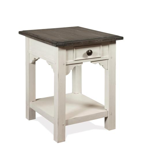 Grand Haven - Rectangular Side Table - Feathered White/rich Charcoal Finish