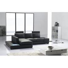 Divani Casa T35 Mini - Modern Black Eco-Leather Sectional Sofa with Light