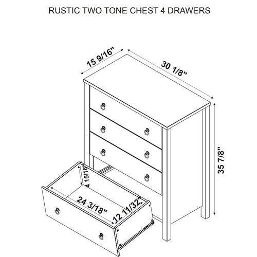 Rustic Two Tone Chest 4 Drawers