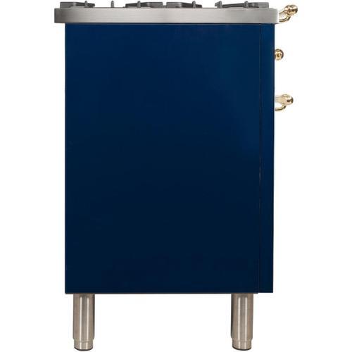 Nostalgie 48 Inch Dual Fuel Natural Gas Freestanding Range in Blue with Brass Trim