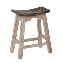 "24"" Saddle Stool With White Wash Base and Rustic Brown Seat"