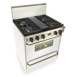 """Five Star - 30"""" All Gas, Convect, Sealed Burners, White with Brass"""
