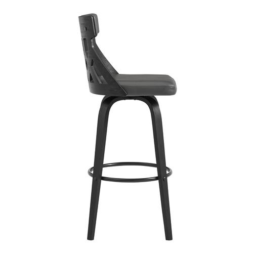 """Armen Living - Crux 30"""" Swivel Bar Stool in Grey Faux Leather and Black Wood"""