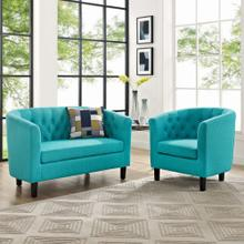 Prospect 2 Piece Upholstered Fabric Loveseat and Armchair Set in Pure Water