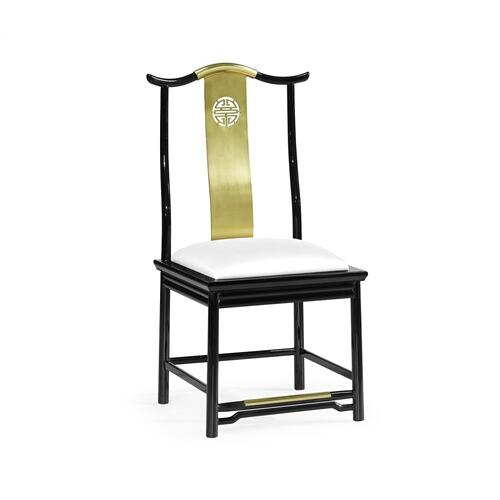 Asian Fusion Black Gloss & Brass Dining Side Chair, Upholstered in COM