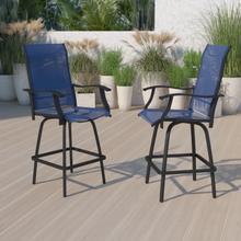 Outdoor Stool - 30 inch Patio Bar Stool \/ Garden Chair, Navy (Set of 2)