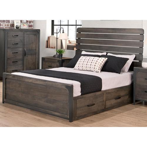 Handstone - Portland Slatted Single 2 Drawer Storage Platform Bed With 22'' Low Footboard (Drawers on Left)
