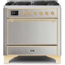 View Product - Majestic II 36 Inch Dual Fuel Liquid Propane Freestanding Range in Stainless Steel with Brass Trim