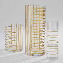 Glass Grid Carafe w/Cup-Gold
