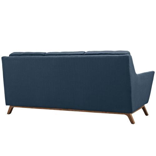 Beguile Living Room Set Upholstered Fabric Set of 3 in Azure