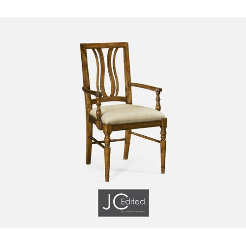 Country Walnut Curved Back Armchair, Upholstered Seat in MAZO