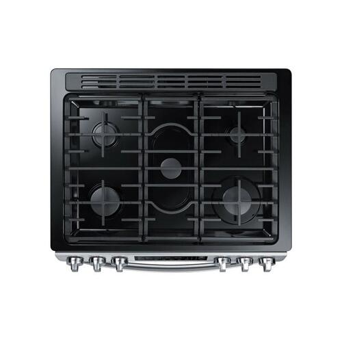 Samsung - 5.8 cu. ft. Slide-in Gas Range with Convection in Stainless Steel