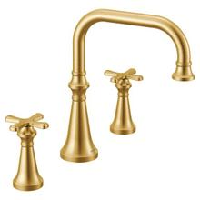 Colinet brushed gold two-handle roman tub faucet