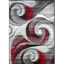 DA-410 RED Abstract Wave Rug