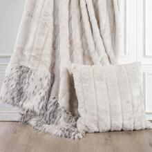 See Details - White Faux Mink & Snow Leopard Oversized Throw Blanket, 50x80