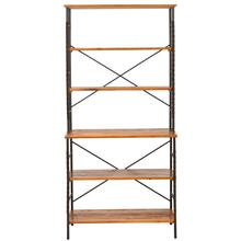 Brooke 6 Tier Etagere - Antique Pewter/ Brown Pine
