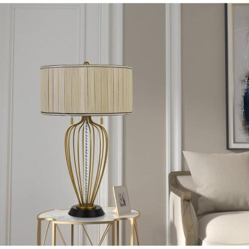 Cal Lighting & Accessories - Laval 60W X 2 Metal Table Lamp With Pleated Softback Fabric Shade And Pull Chain Switch