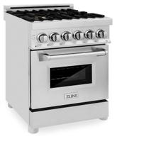 ZLINE 24 in. 2.8 cu. ft. Professional Dual Fuel Range in Stainless Steel with Brass Burners (RA-BR-24)