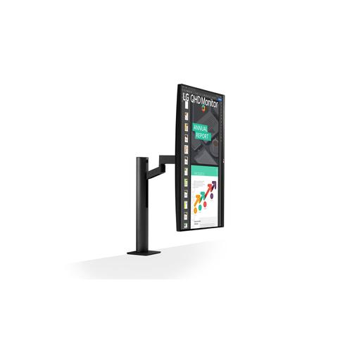 """LG - 27"""" Ergo IPS QHD Monitor (2560x1440) with Ergonomic Stand & C-Clamp, USB Type-C™, DCI-P3 95% (Typ.), HDR10 and AMD FreeSync™"""