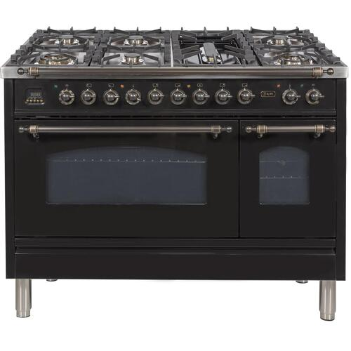 Nostalgie 48 Inch Dual Fuel Natural Gas Freestanding Range in Glossy Black with Bronze Trim
