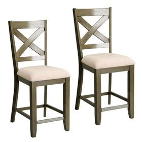 Omaha 2-Pack X-Back Barstools with Upholstered Seat, Grey