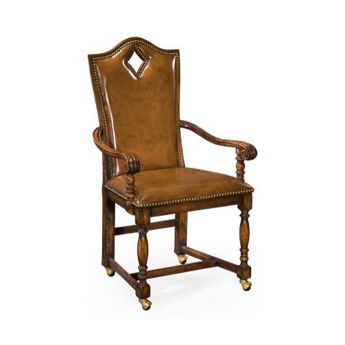 """High Back Playing Card """"Diamond"""" Arm Chair with Medium Antique Chestnut Leather"""