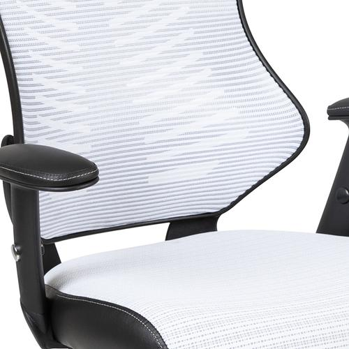 Gallery - High Back Designer White Mesh Executive Swivel Ergonomic Office Chair with Adjustable Arms
