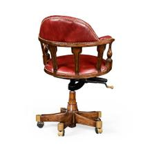 Captain's style chair in red leather