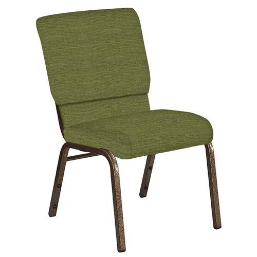 Flash Furniture - 18.5''W Church Chair in Highlands Verdigris Fabric - Gold Vein Frame
