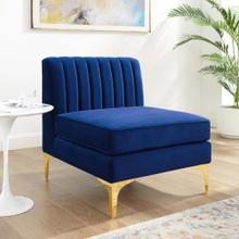 Triumph Channel Tufted Performance Velvet Armless Chair in Navy