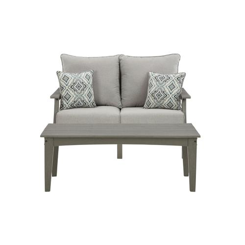 Ashley - Outdoor Loveseat With Coffee Table