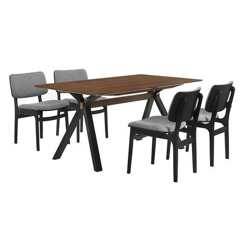 Laredo and Lima 5 Piece Black Rectangular Dining Set