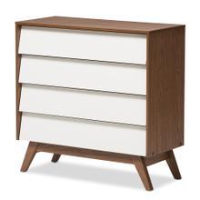 See Details - Baxton Studio Hildon Mid-Century Modern White and Walnut Wood 4-Drawer Storage Chest