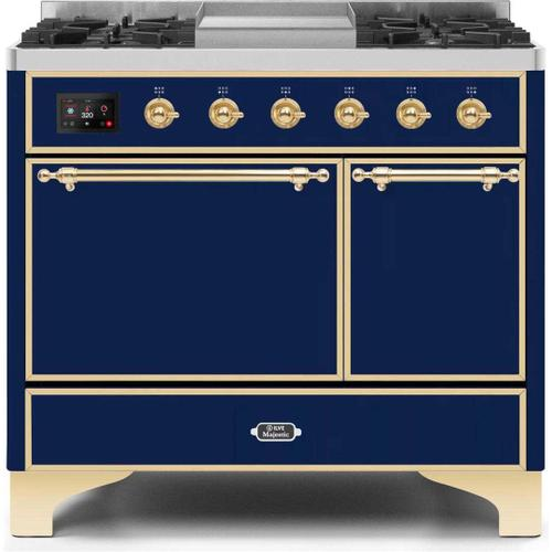 Ilve - Majestic II 40 Inch Dual Fuel Liquid Propane Freestanding Range in Blue with Brass Trim