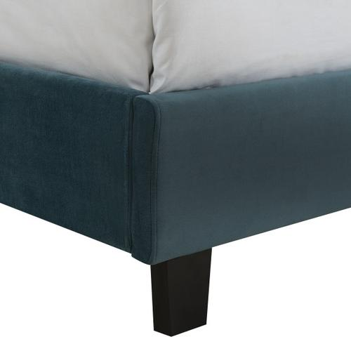 Accentrics Home - Nailhead Marquee Upholstered King Bed in Jasper Blue
