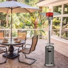 See Details - Hanover 7-Ft. 48,000 BTU Steel Umbrella Propane Patio Heater in Stainless Steel with Weather-Protective Cover, HAN003SS-CV