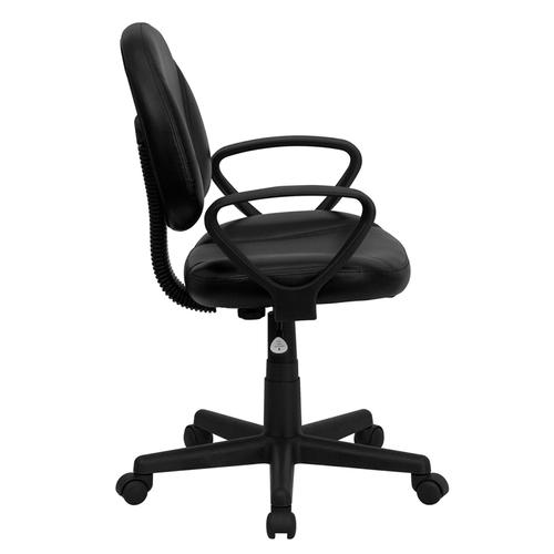 Gallery - Mid-Back Black LeatherSoft Swivel Ergonomic Task Office Chair with Back Depth Adjustment and Arms