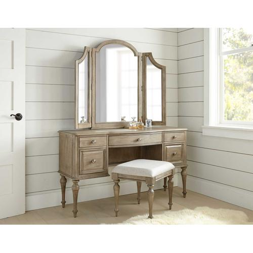 3-Piece Highland Park Vanity Set, Waxed Driftwood (Vanity Desk, Tri-fold Mirror and Bench)