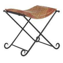 Ali Leather Stool - Black Metal, Natural Rattan, Brown Leather