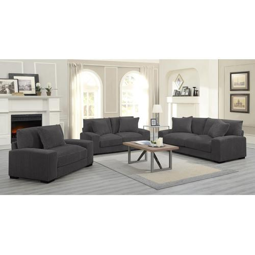 See Details - Big Chill Charcoal Sofa, Loveseat, 1.5 Chair & Swivel Chair, U2249