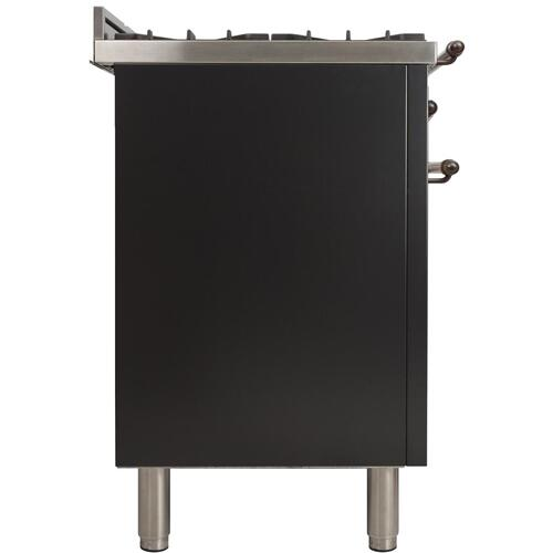 Nostalgie 30 Inch Dual Fuel Natural Gas Freestanding Range in Glossy Black with Bronze Trim