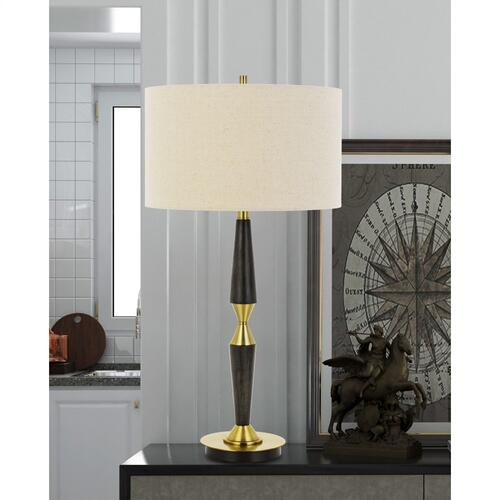 Pescara Metal/Wood Table Lamp With Burlap Drum Shade